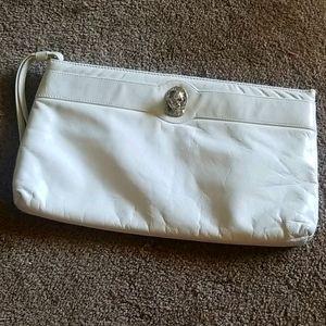 Vintage Ruth Saltz White Leather Clutch